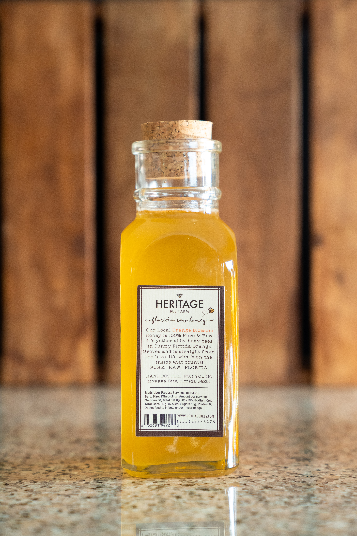 Local Raw Orange Blossom Honey, 1 lb  Pure Florida Orange Blossom, In  Beautiful Jar with Cork