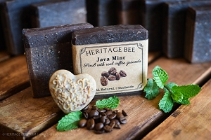 Java Mint All Natural Soap with coffee grounds and essential oils