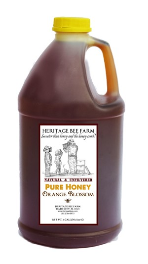 1 Gallon of Pure Orange Blossom Raw Honey - Plastic