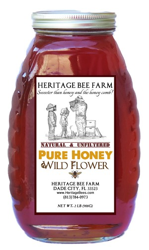 2lb. Wildflower PURE RAW Honey