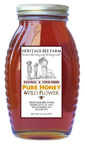 Wildflower Honey -Pure raw florida honey in 8oz. glass skep