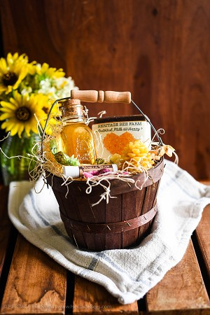 Cute Honey and Hive Gift Basket - Raw Honey, Beeswax Candle and Handmade soap.