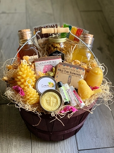 Ultimate Honey and Hive Gift Basket RAW HONEY, BEESWAX CANDLE AND HANDMADE SOAP
