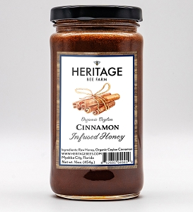 Cinnamon Honey, Wildflower Honey with Organic Ceylon Cinnamon, 16 oz.