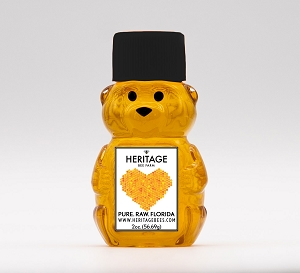 Mini Honey Bear 2 oz. - Honeycomb Heart Label