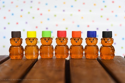 Set of 25 Colorful Honey Bear Favors - Raw Honey Natural Favors Cute for weddings or any special occasion!  - Heritage Bee Farm
